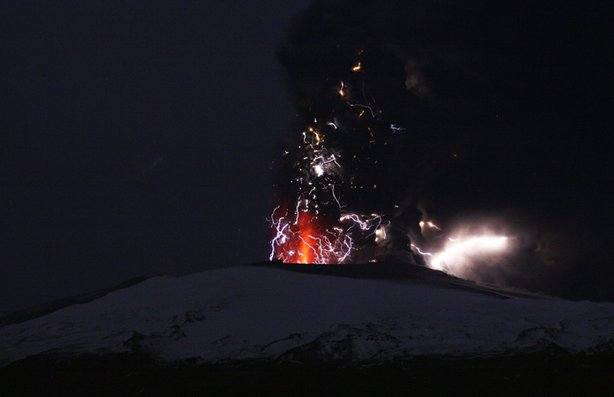 Eruption in Firmvoldulhaus, the area between the glaciers of Eyjafjallajökull and Mýrdalsjökull in southern Iceland.
