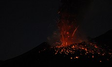 Night eruption of the Tavurvur volcano, in Papu...