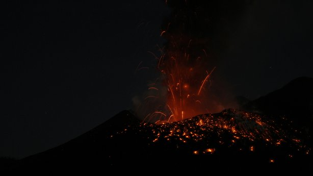 Night eruption of the Tavurvur volcano, in Papua New Guinea. This volcano has been very active since its 1994 explosion.