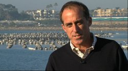 Peter MacLaggan of Poseidon Resources, by the Agua Hedionda Lagoon, where the Desalination Plant will be located