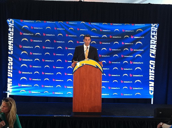 New Chargers GM Tom Telesco talks to reporters after his ...