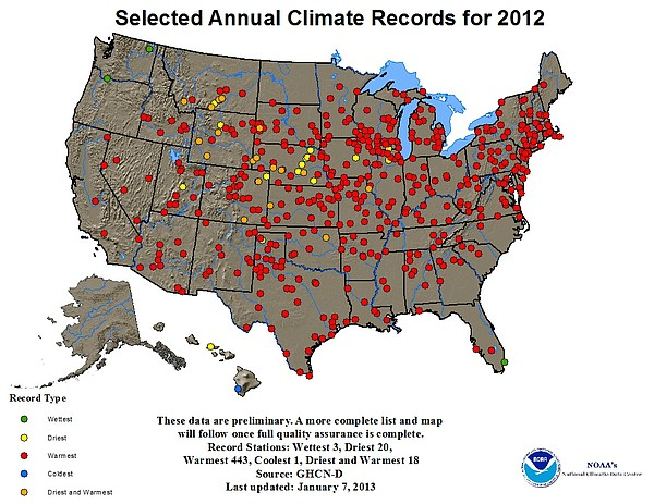 The red dots represent locations that set records in 2012...