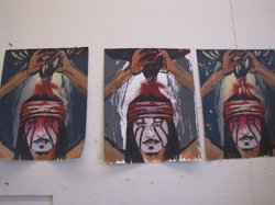 Proofs of the prints that Tom Greyeyes made this week. The subject is Johnny Depp's portrayal of the character Tonto.