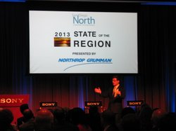 State Controller, John Chiang, addressing business and elected leaders at a m...