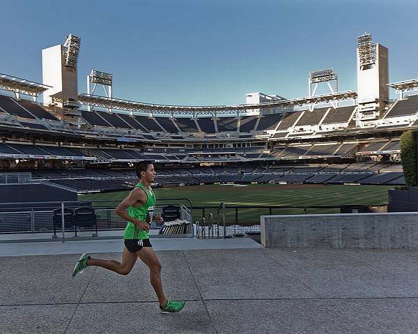 A runner at the 2011 San Diego Rock'n'Roll Marathon passes Petco Park.