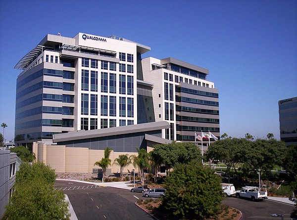 The Qualcomm building in San Diego is pictured in this undated photo.