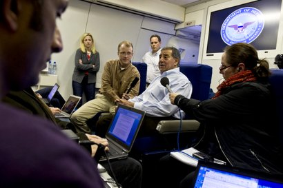 U.S. Defense Secretary Leon E. Panetta briefs the press in flight to Lisbon, ...