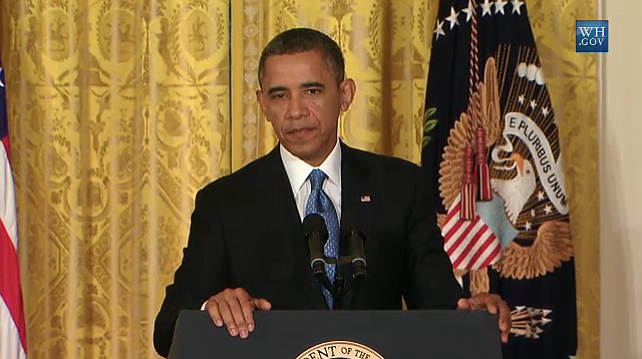 Credit: Whitehouse.gov. A screenshot from press conference, Obama addressing ...