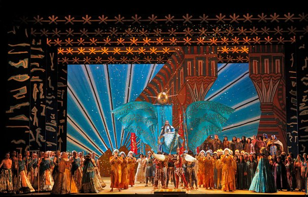 "Zandra Rhodes brings her ""Aida"" to San Diego Opera for the first time on April 20, 2013. Starring Latonia Moore as Aida, Jill Grove as Amneris and Walter Fraccaro as Radames."
