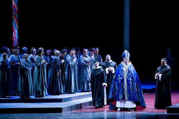 "Ferruccio Furlanetto stars as Thomas Becket in the West Coast Premiere of ""Murder In The Cathedral,"" based on the T.S. Eliot play."