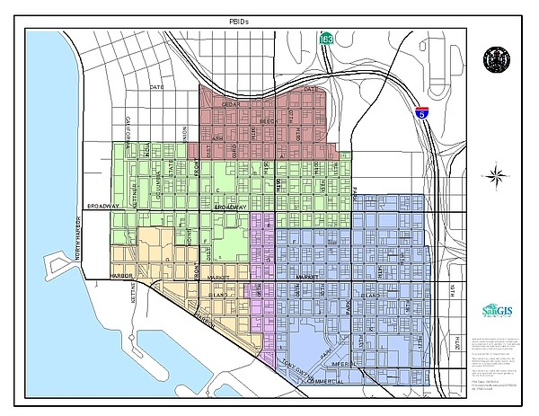 A map of the area included in the downtown San Diego PBID.