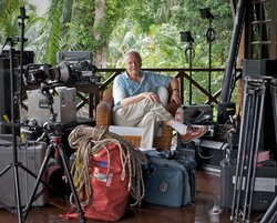 David Attenborough with filming equipment in Sabah, Borneo.