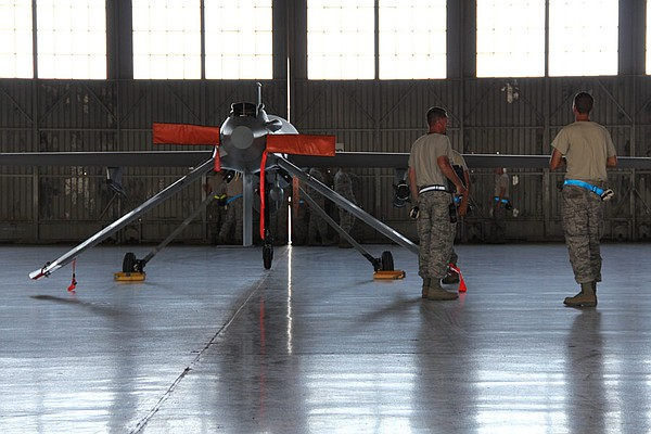 MQ-1 Predator waiting to be pushed outside for flight training mission.