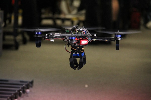 Quadrotor UAV hovering at the GRASP Lab at the University of Pennsylvania.