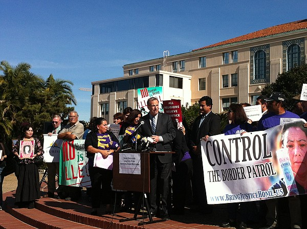 San Diego Mayor Bob FIlner address a crowd of Immigrant rights activists on J...