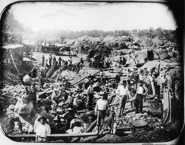 """Mining Scene on the American River, c. 1852"" by George Johnson, one of the historic photos included in the exhibit ""Gold Fever! Untold Stories of the California Gold Rush"" at the Temecula Valley Museum."