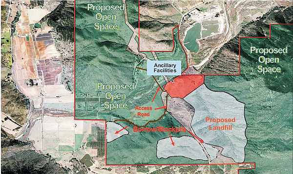 Map of proposed Gregory Canyon landfill, near Highway 76, east of Interstate 15