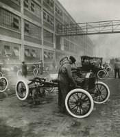 Ford Model T Chassis outside Highland Park Plant, 1914.