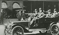 Henry Ford, James Couzens, Elwood Rice and Gaston Plantiff in Ford Model K Ca...