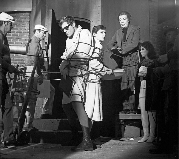 Adam West, Burt Ward, and Cesar Romero rehearse a scene i...