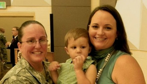 Army Lt. Col. Heather Mack, wife Ashley Broadway, and son.