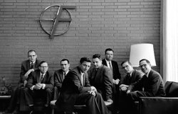 The Fairchild 8, who left the lab of Nobel Prize winner William Shockey to form Silicon Valley's first start-up, Fairchild Semiconductor. From left to right: Gordon Moore, C. Sheldon Roberts, Eugene Kleiner, Robert Noyce, Victor Grinich, Julius Blank, Jean Hoerni and Jay Last. 1960