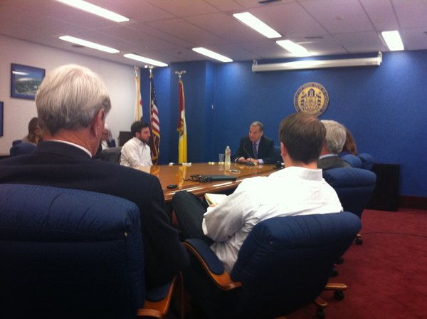 San Diego Mayor Bob Filner meets with members of the media during a