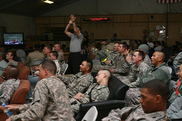 U.S. troops watch the Super Bowl in Afghanistan in 2009.