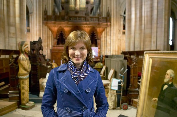 ANTIQUES ROADSHOW presenter Fiona Bruce at Beverley Minster.