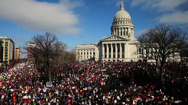 Scene outside of Madison, Wisconsin's state Capitol, during 2011 protests against Governor Scott Walker's proposal to curtail collective bargaining rights for public employees.