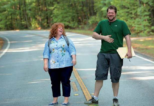 "Melissa McCarthy and director, Seth Gordon share a laugh on the set of ""Identity Thief."""