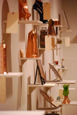 A collection of copper items that community members have lent to the ASU Art Museum for the exhibition.