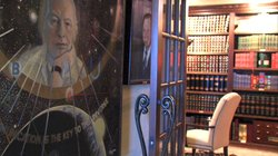 The hallway leading into the L. Ron Hubbard room at the Marsh Library. The painting of Hubbard is by artist and psychic Ingo Swann.