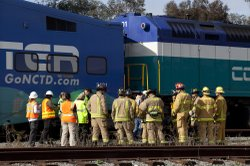 Law enforcement and fire fighters from around San Diego County attend a train...