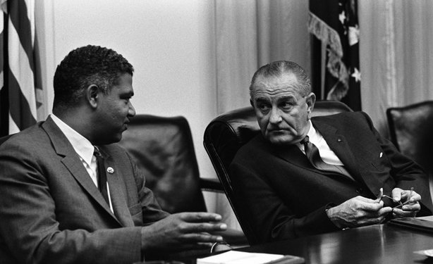 Whitney M. Young talking to Lyndon Baines Johnson.