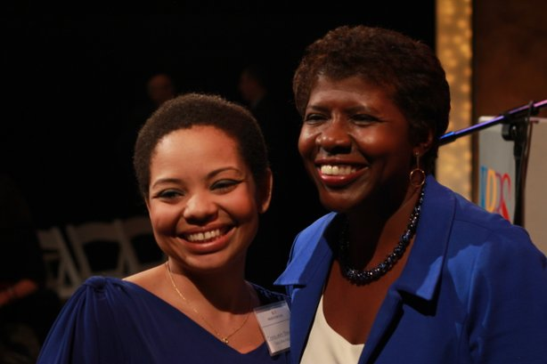 PBS NewsHour host Gwen Ifill with KPBS Executive Assistant Consuela Steward after the reception in the KPBS Shiley Studio on February 9th.