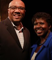 PBS NewsHour host Gwen Ifill with a KPBS Producers Club member at the reception in the Shiley Studio at KPBS on February 9th.
