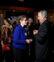 KPBS General Manager Tom Karlo interacts with Producers Club members at the reception for PBS NewsHour host Gwen Ifill in the Shiley Studio on February 9th.