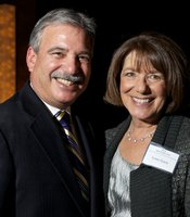 KPBS General Manager Tom Karlo with Congresswoman Susan Davis after the reception with PBS NewsHour host Gwen Ifill at the Shiley Studio on 2/9/13.