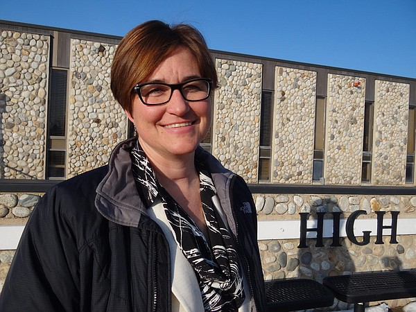 Gina Butters, Roy High School principal, outside Roy High School.