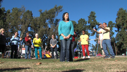 Jesalyn Eatchel at the Balboa Park laughter yoga class.
