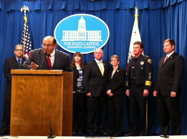 "State Sen. Lou Correa (D-Santa Ana) speaks at a Capitol news conference Tuesday about his bill that would create a ""zero tolerance"" policy for drugged driving."