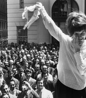 Demonstrators remove their brassieres during an anti-bra protest outside a San Francisco department store. August 1, 1969.