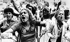 Equal Rights Amendment supporters voice their disapproval of the 22-16 vote against the E.R.A. in the Florida Senate, June 21, 1982.