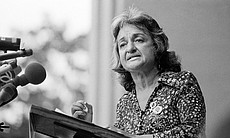 Betty Friedan, co-founder of National Organization for Women (NOW), speaks du...