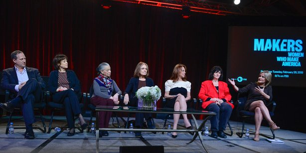 """During PBS' """"Makers: Women Who Make America"""" session at the Television Critics Association Winter Press Tour in Pasadena, CA on Tuesday, January 15, 2013, filmmaker Barak Goodman, executive producer Betsy West, former National Organization for Women president Aileen Hernandez, Gloria Steinem, Marlo Thomas, one of the first woman coal miners Barbara Burns and executive producer Dyllan McGee discuss the story of how women have helped shape America over the last 50 years. (Premieres Tuesday, February 26, 2013)"""