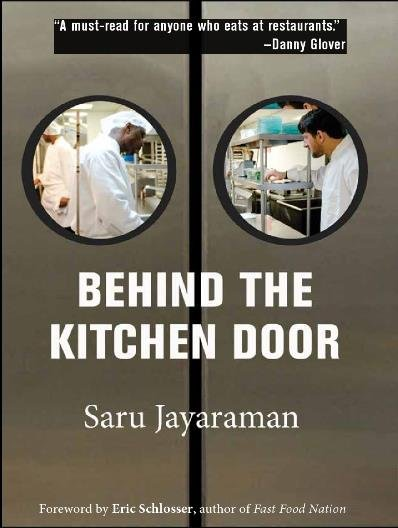 "Graphic cover of ""Behind The Kitchen Door"" by Saru Jayaraman"