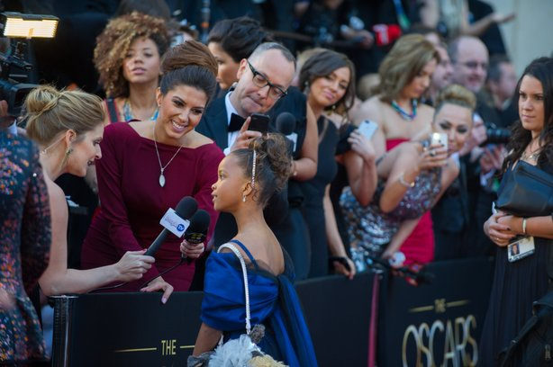 "Poised and lovely, tiny Quvenzhané Wallis on the red carpet and nominated for best actress in ""Beasts of the Southern Wild."""