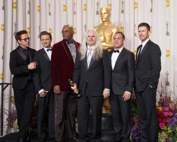 "Five of the stars from ""The Avengers"" -- Robert Downey, Jr., Jeremy Renner, Samuel L. Jackson, Mark Ruffalo, and Chris Evans with Oscar winner Claudio Miranda."