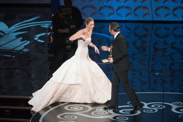 Jennifer Lawrence tripped on her way up to grab her best actress Oscar.